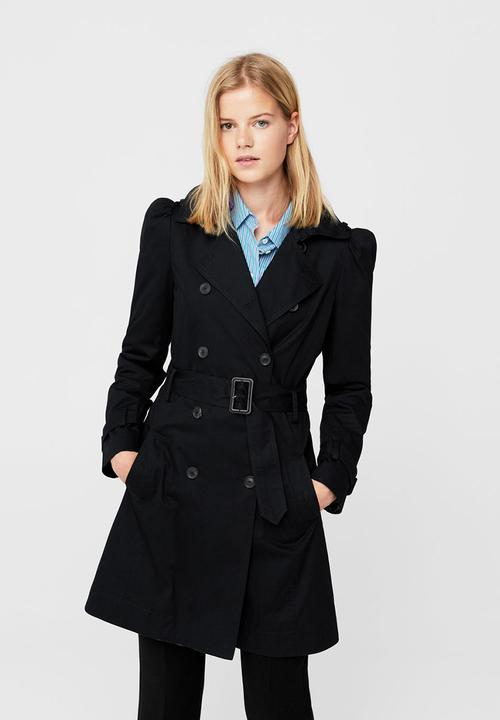 1a7e5f57d Puffed-shoulder Trench Coat Black MANGO Coats
