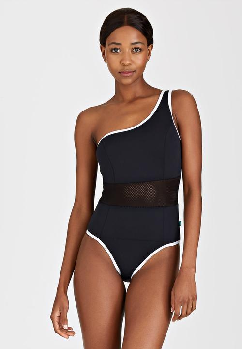 597c1d5546107 Mesh One-Shoulder Swimsuit Black PIHA One Piece | Superbalist.com