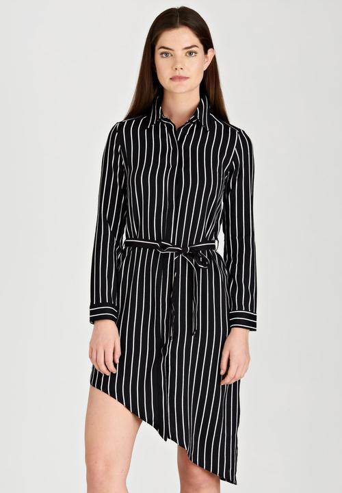 2e4f7f15dbb Asymmetrical Hem Striped Shirtdress Black and White Revenge Casual ...