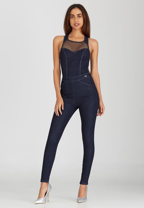 a81d301af54 Denim Jumpsuit with Mesh Dark Blue Sissy Boy Jumpsuits   Playsuits ...