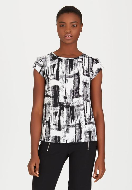 d6160c33dde9bb Double Layer T-shirt Blouse with Back Zip Black and White edit ...