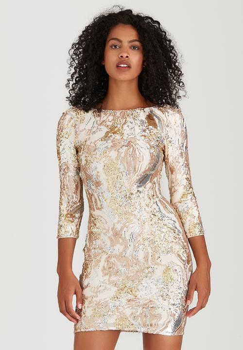 768360404bbc Multi Sequin Scoop-Back Dress Multi-colour Little Mistress Occasion ...