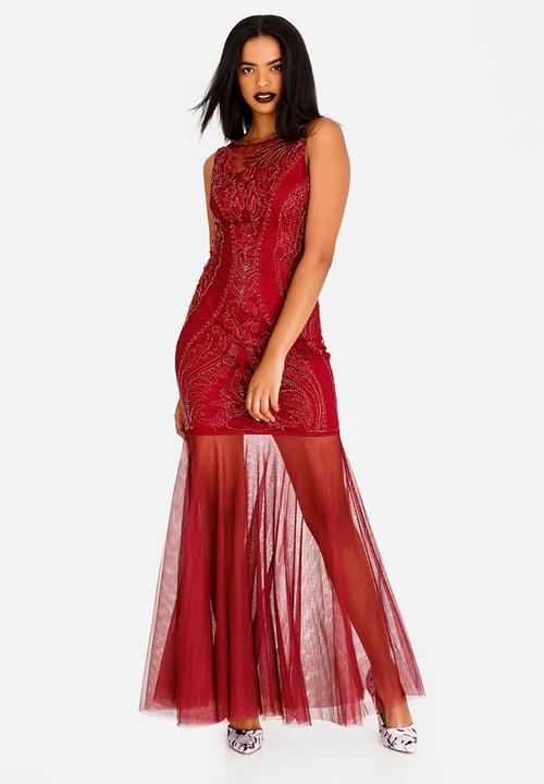 f112bff2c0 Sleeveless Beaded Maxi Dress Burgundy Sissy Boy Occasion ...