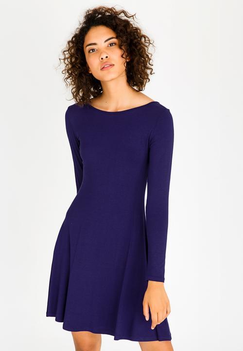 f679c47596f2 Cross Back Skater Dress Dark Blue c(inch) Casual