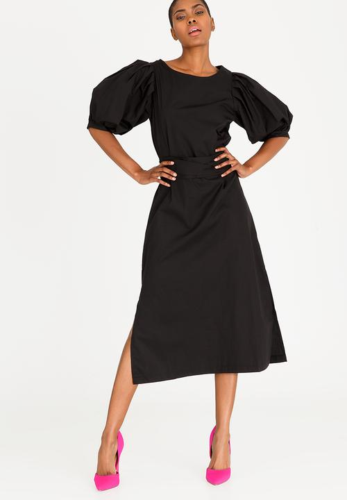 0394b1ead54 Volume Sleeve Dress Black STYLE REPUBLIC Formal