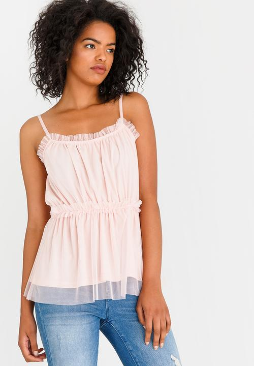 05865ddc4f6911 STYLE REPUBLIC - Mesh Tier Cami Pale Pink. ON SALE