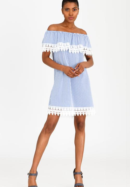 e2af93eaf8b2 Off Shoulder Dress with Crochet Trim Detail Blue Revenge Casual ...