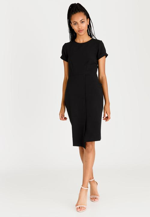 a19d55e3d8 Asymmetric Wrap Skirt Dress Black Closet London Formal