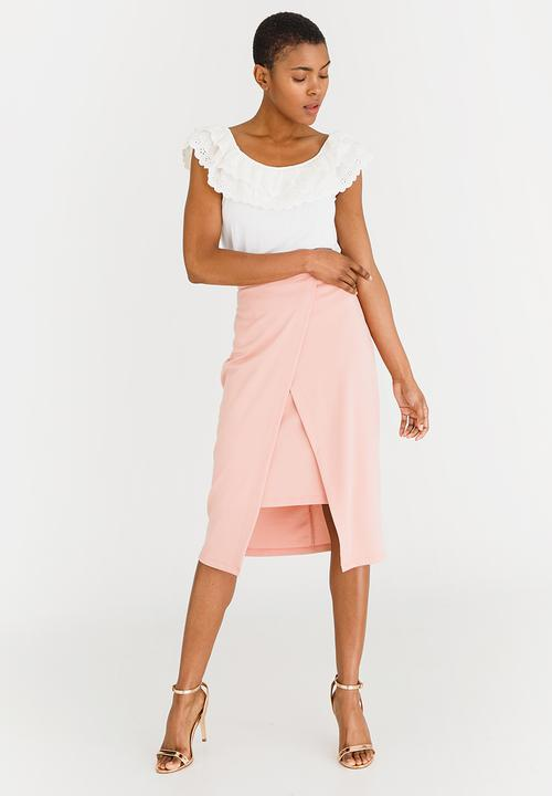 9d1b8e04d9 High Waisted Skirt with Wrap Pale Pink edit Skirts | Superbalist.com