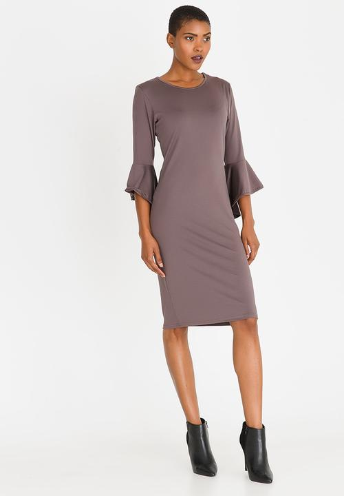 e765f5fd00cf Shift Dress with Frill Sleeves Taupe edit Formal