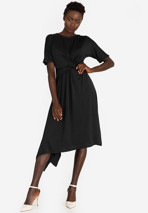 30cc80d2d633 3/4 Sleeve Front Drape Dress Black edit Formal | Superbalist.com