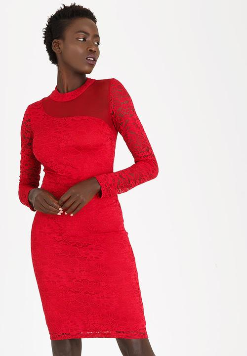 65dc549002d4 Mesh Inset Lace Bodycon Dress Red edit Formal
