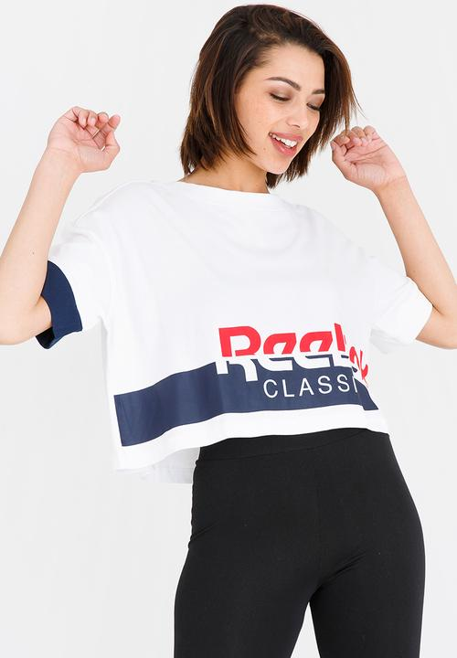 2d9fc11d19494 Cropped tee - White collegiate navy Reebok Classic T-Shirts ...