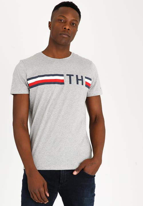 91c3646520e0 Striped Logo Graphic Tee Grey Tommy Hilfiger T-Shirts   Vests ...