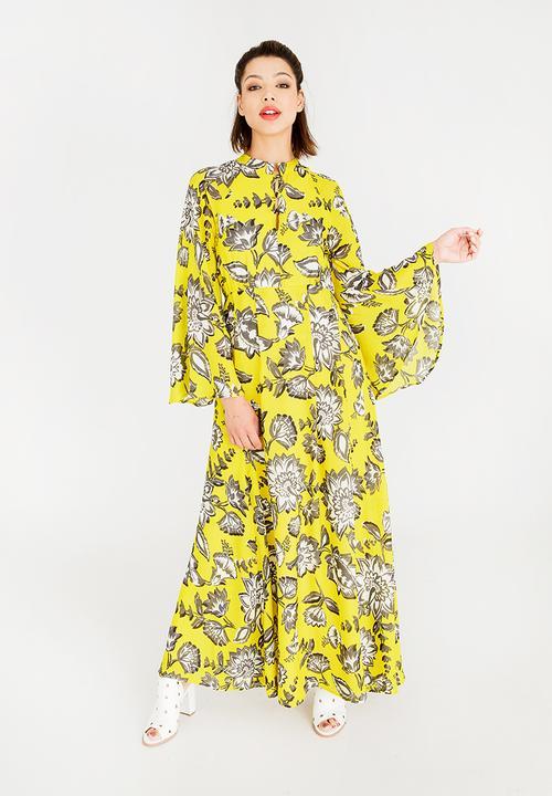 db315a263b2 Wide Sleeve Maxi Dress Yellow STYLE REPUBLIC Formal