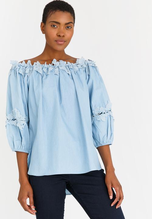 77bdb793abd87 Bardot Top with Crochet Blue edit Blouses