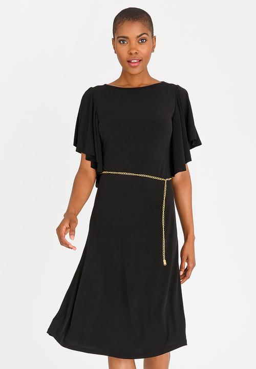 466bd3026e Flutter Sleeve Dress with Belt Black edit Formal