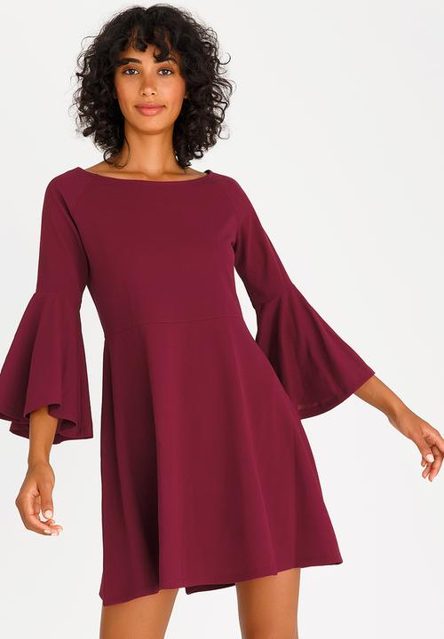 28bdeb60329 Bell Sleeve Fit and Flare Dress Burgundy c(inch) Formal ...