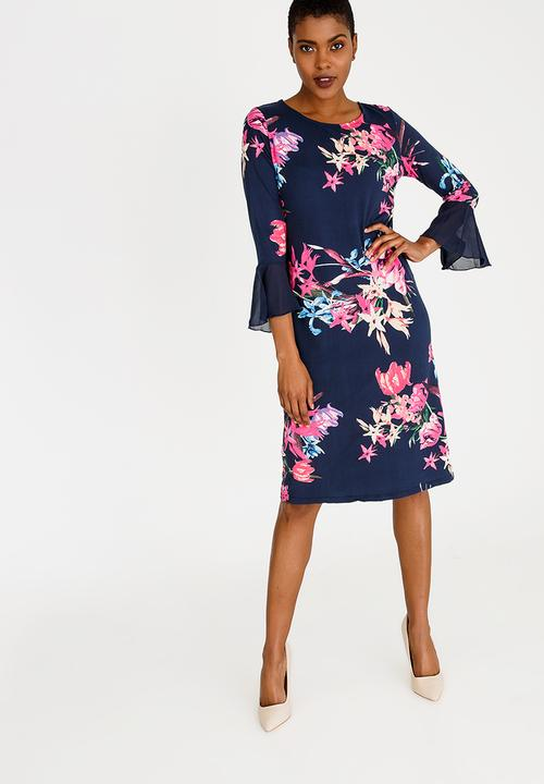 2de40313c2c2a 3/4 Sleeve Shift Dress with Sleeve Detail Floral edit Formal ...