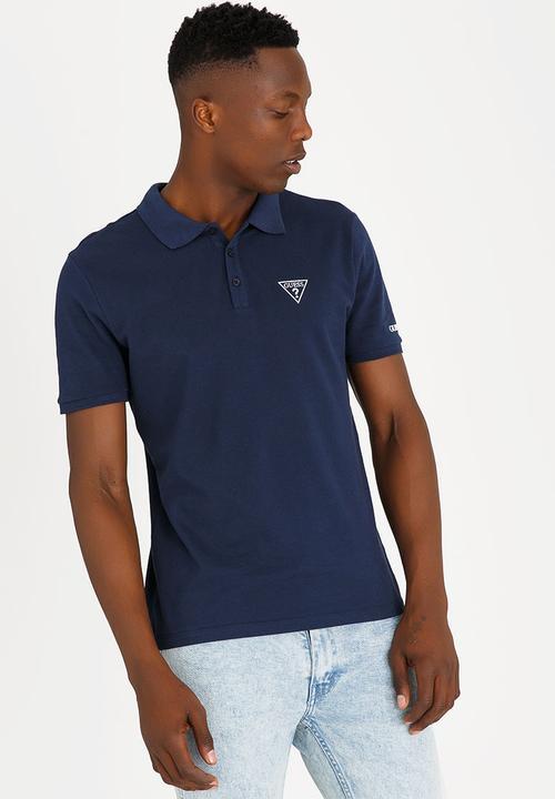9ccc465259f6 Riley Rippled Golfer Navy GUESS T-Shirts & Vests | Superbalist.com