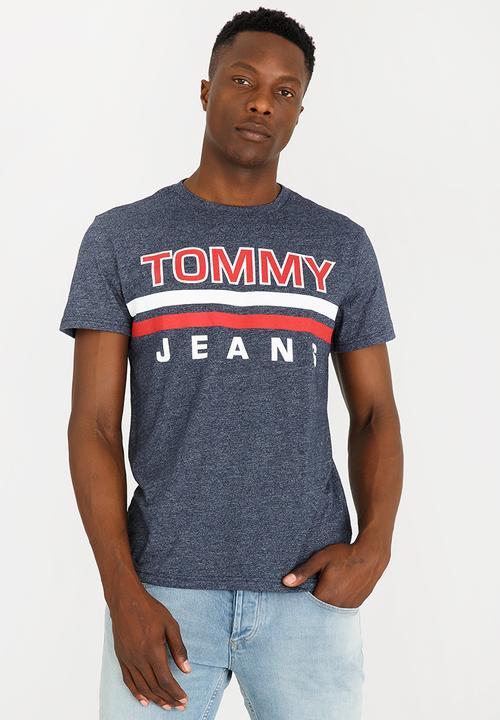 8eb22dc21a90 Stripe Tee Black Tommy Hilfiger T-Shirts   Vests