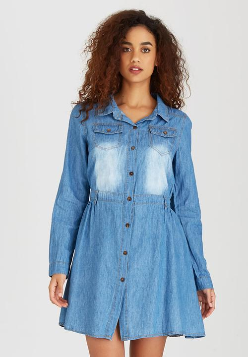 ef5bc1e6194 Distressed Denim Shirtdress with Front Pockets Mid Blue Revenge ...