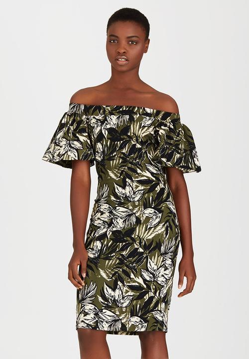 7a76ec8db074 Bell Sleeve Bardot Dress Green STYLE REPUBLIC Formal | Superbalist.com