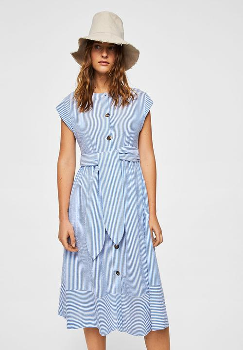 90091d2fcbb6 Stripe Textured Dress Blue and White MANGO Casual   Superbalist.com