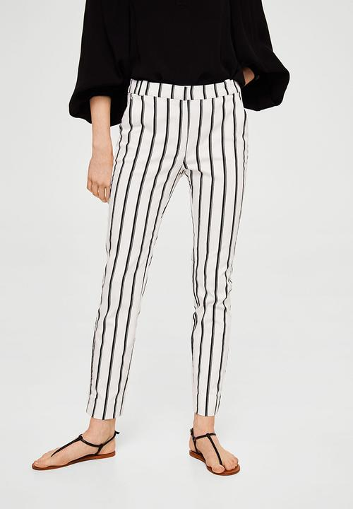 Crop Slim-fit Pants Off White MANGO Trousers  11762cd9c