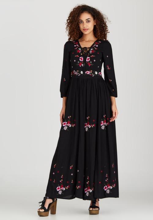 a36168249c39 Lily Embroidered Maxi Dress Black Boohoo Formal | Superbalist.com