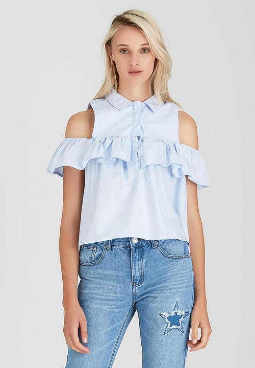 17ca63276ea2c Frill Cold Shoulder Shirt Pale Blue Boohoo Shirts