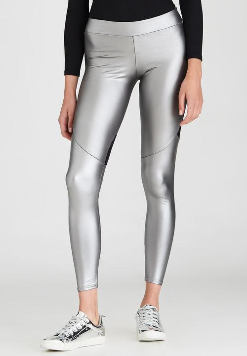 1df701cba4a187 Metallic Legging with Contrast Panels Multi-colour Boohoo Trousers ...