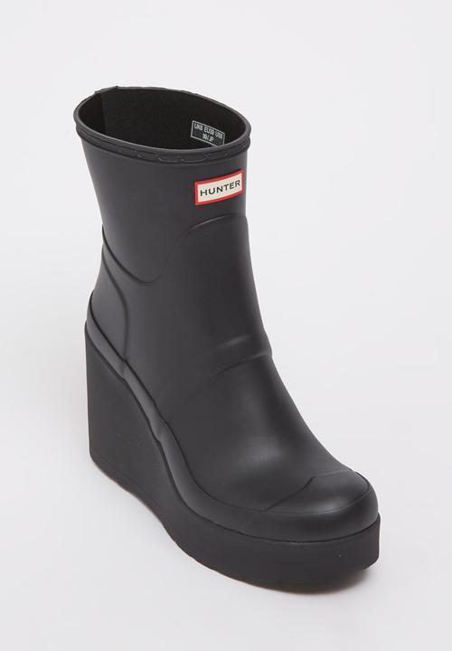 0a635939d90 Original Short Mid Wedge Hunter Wellington Boots Black Hunter Boots ...