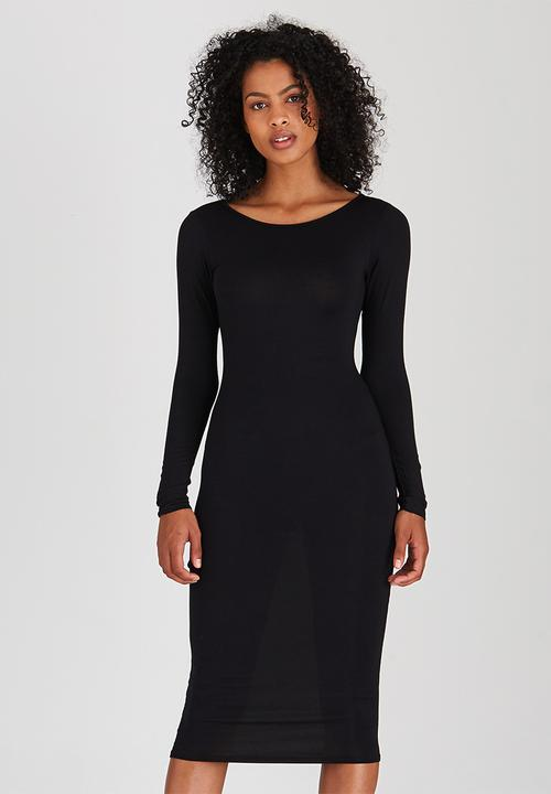 9999e5bad29 Long Sleeve Midi Dress Black Boohoo Casual