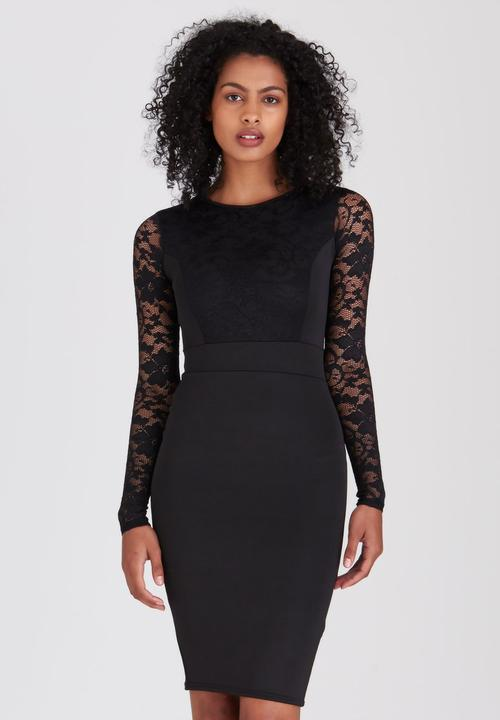 89b3bdc7193 Long Sleeve Bodycon Midi Dress Black Boohoo Formal