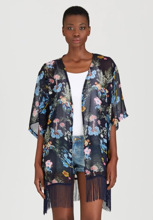 3c5cbaa0d10 Romantic Floral Fringed Kimono Black STYLE REPUBLIC Kaftans   Cover ...