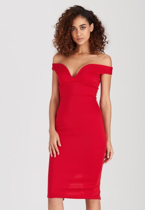 b2858761ba13 Sweetheart Off Shoulder Bodycon Dress Red Boohoo Formal ...