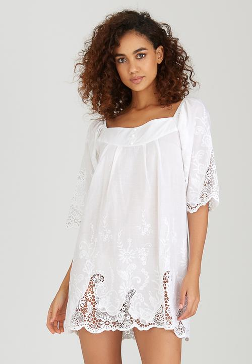 ab2151a5cc5cc Embroidered Crochet Smock Dress White Boohoo Casual | Superbalist.com