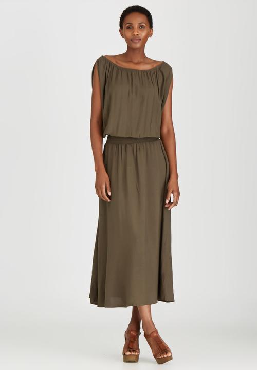 4836c8982b6b Boho Maxi Dress Khaki Green Bukamina Casual