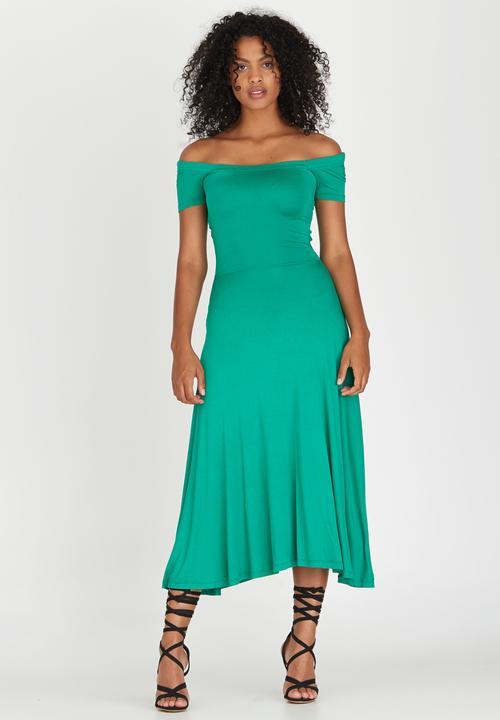 876be25d7c61 Cross Back Bardot Dress Green STYLE REPUBLIC Formal