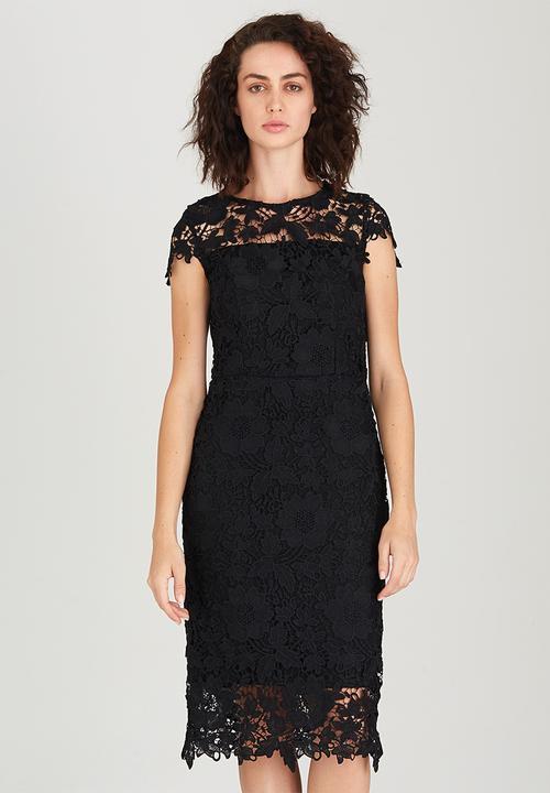 25c1cd1183ed Orchard Midi Lace Dress Black Suzanne Betro Formal