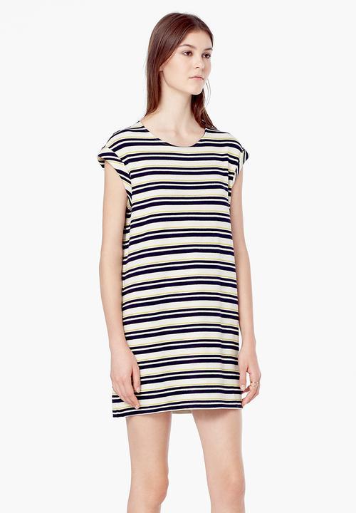 1b7d66af4c Striped T-shirt Dress Blue and White MANGO Casual