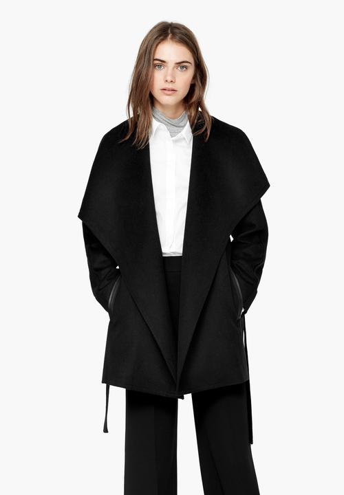 eadab8b9156b Oversized Lapels Wool-blend Coat Black MANGO Coats