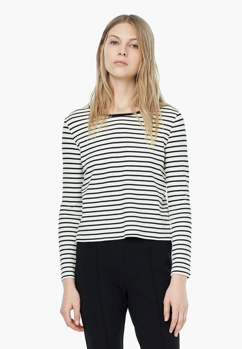 9f49f9029c Striped Knit T-shirt Blue and White MANGO T-Shirts
