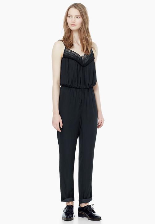 ef202ee2da1c Lace Trim Jumpsuit Black MANGO Jumpsuits   Playsuits