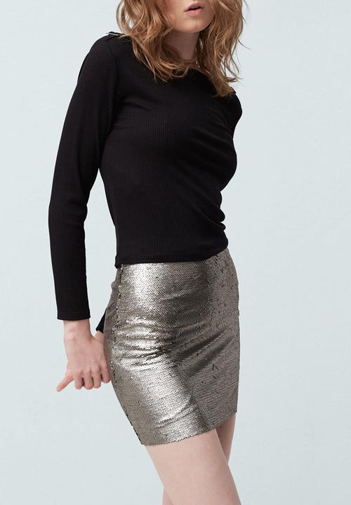 dc03fb252c Reversible Sequin Mini Skirt Silver MANGO Skirts