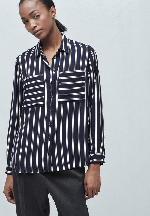 231e13452a Pocket Striped Shirt Blue and White MANGO Shirts   Superbalist.com