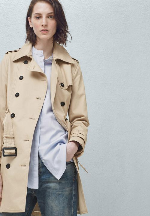 5f655a8a21ca2 Double Breasted Trench Coat Beige MANGO Coats