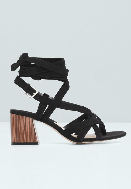 9745fb543b88 Suede Straps Block Heel Sandal Black MANGO Heels