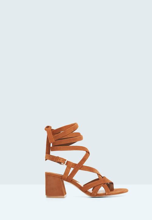 38c159f70c32 Suede Straps Block Heel Sandal Camel MANGO Heels